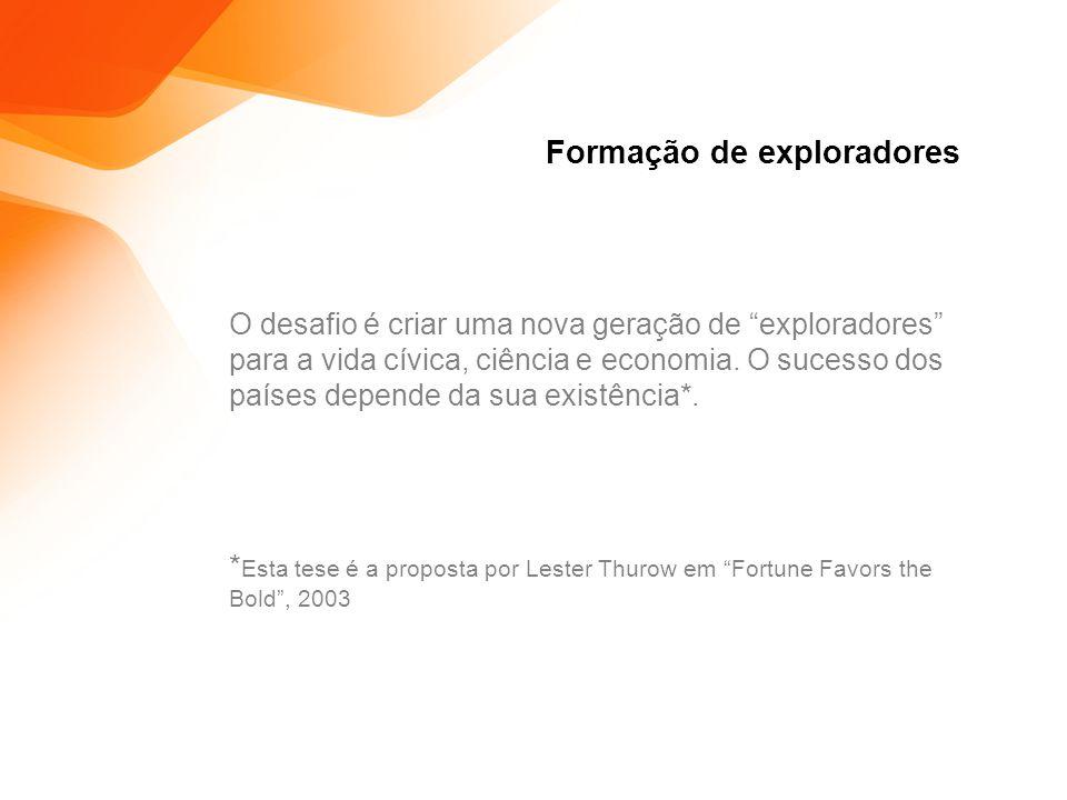 Formação de exploradores O desafio é criar uma nova geração de exploradores para a vida cívica, ciência e economia.