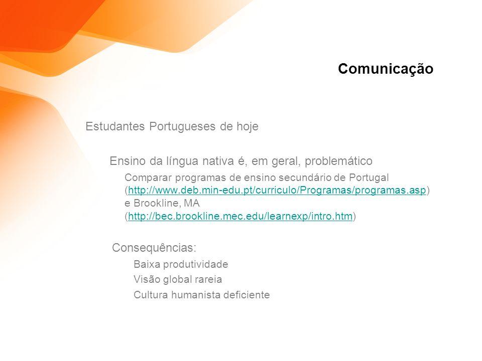 Comunicação Estudantes Portugueses de hoje Ensino da língua nativa é, em geral, problemático Comparar programas de ensino secundário de Portugal (http://www.deb.min-edu.pt/curriculo/Programas/programas.asp) e Brookline, MA (http://bec.brookline.mec.edu/learnexp/intro.htm)http://www.deb.min-edu.pt/curriculo/Programas/programas.asphttp://bec.brookline.mec.edu/learnexp/intro.htm Consequências: Baixa produtividade Visão global rareia Cultura humanista deficiente