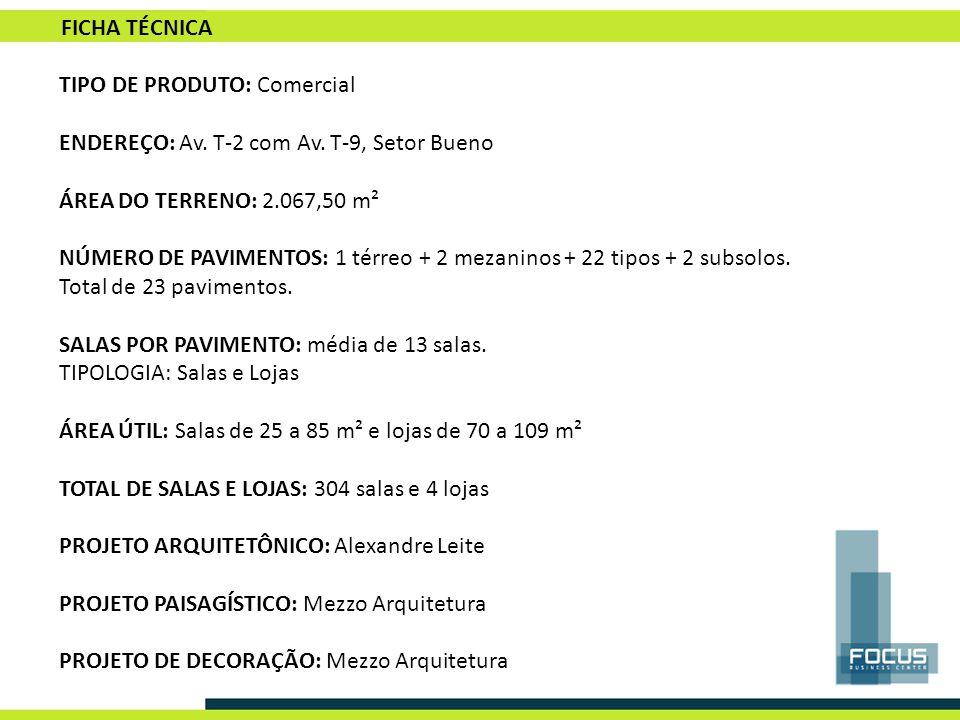 TIPO DE PRODUTO: Comercial ENDEREÇO: Av. T-2 com Av. T-9, Setor Bueno ÁREA DO TERRENO: 2.067,50 m² NÚMERO DE PAVIMENTOS: 1 térreo + 2 mezaninos + 22 t