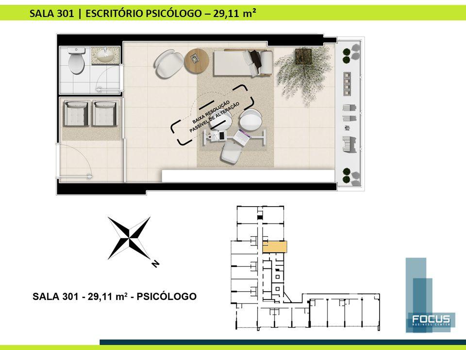 SALA 301 | ESCRITÓRIO PSICÓLOGO – 29,11 m²