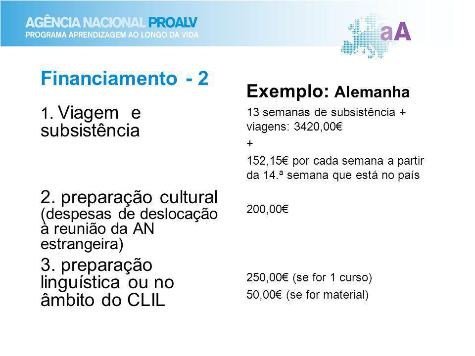 Financiamento - 2 1. Viagem e subsistência 2. preparação cultural (despesas de deslocação à reunião da AN estrangeira) 3. preparação linguística ou no