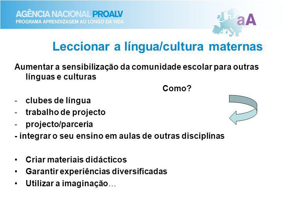 Leccionar a língua/cultura maternas Aumentar a sensibilização da comunidade escolar para outras línguas e culturas Como? -clubes de língua -trabalho d