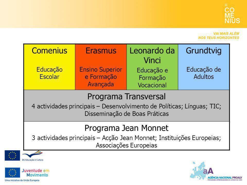 Comenius Educação Escolar Erasmus Ensino Superior e Formação Avançada Leonardo da Vinci Educação e Formação Vocacional Grundtvig Educação de Adultos P