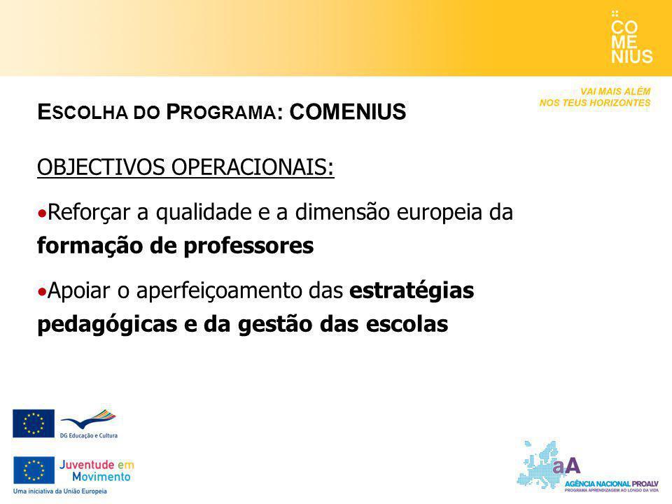 OBJECTIVOS OPERACIONAIS:  Reforçar a qualidade e a dimensão europeia da formação de professores  Apoiar o aperfeiçoamento das estratégias pedagógicas e da gestão das escolas E SCOLHA DO P ROGRAMA : COMENIUS