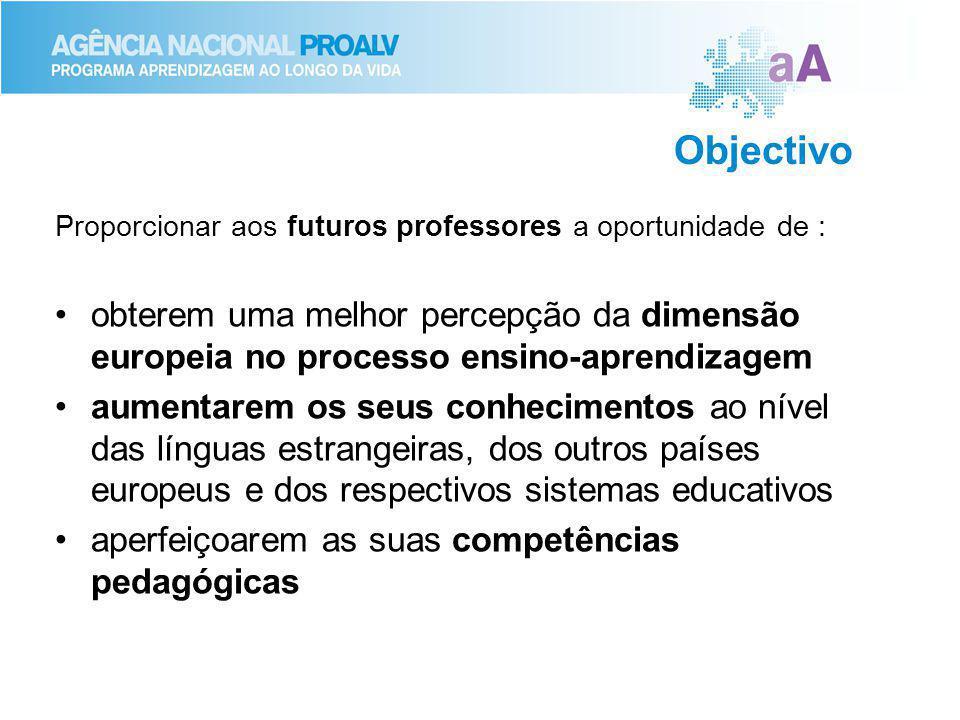Objectivo Proporcionar aos futuros professores a oportunidade de : obterem uma melhor percepção da dimensão europeia no processo ensino-aprendizagem aumentarem os seus conhecimentos ao nível das línguas estrangeiras, dos outros países europeus e dos respectivos sistemas educativos aperfeiçoarem as suas competências pedagógicas