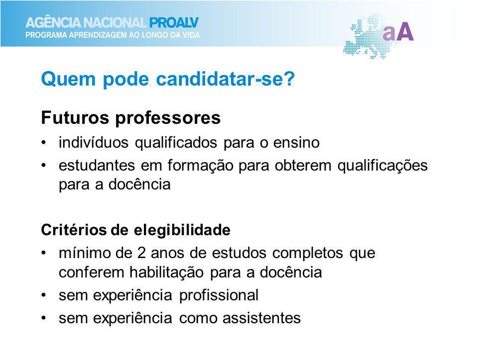 Quem pode candidatar-se? Futuros professores indivíduos qualificados para o ensino estudantes em formação para obterem qualificações para a docência C