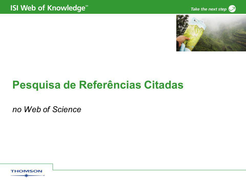Pesquisa de Referências Citadas no Web of Science