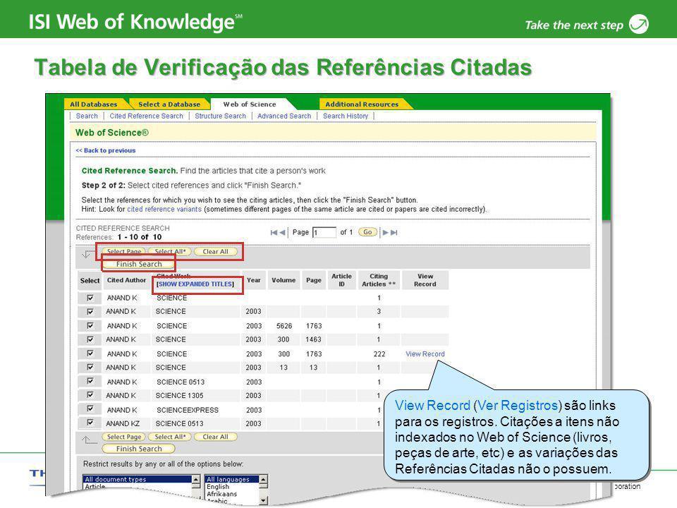 Copyright 2006 Thomson Corporation 6 Tabela de Verificação das Referências Citadas View Record (Ver Registros) são links para os registros. Citações a