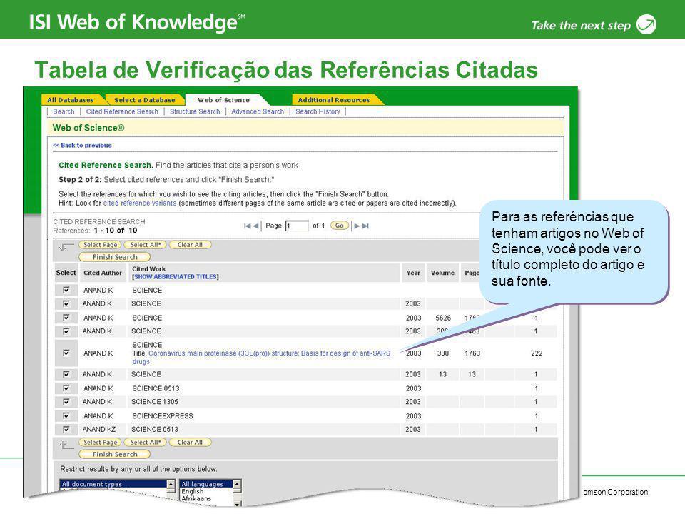 Copyright 2006 Thomson Corporation 7 Tabela de Verificação das Referências Citadas Para as referências que tenham artigos no Web of Science, você pode