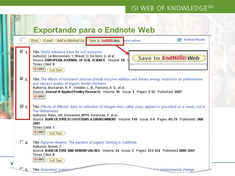 Copyright 2006 Thomson Corporation 8 Exportando para o Endnote Web