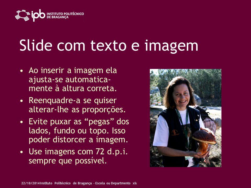 Slide com imagem grande 22/10/2014Instituto Politécnico de Bragança – Escola ou Departmento xis