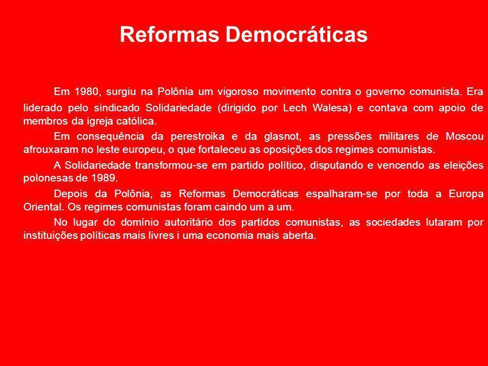 Reformas Democráticas Em 1980, surgiu na Polônia um vigoroso movimento contra o governo comunista.