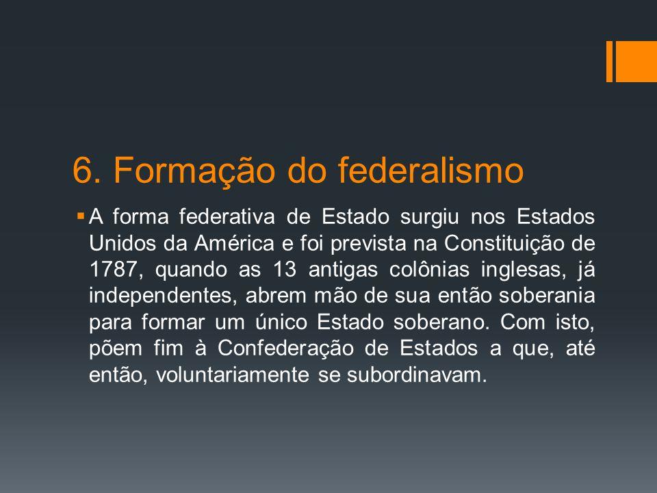 6. Formação do federalismo  A forma federativa de Estado surgiu nos Estados Unidos da América e foi prevista na Constituição de 1787, quando as 13 an