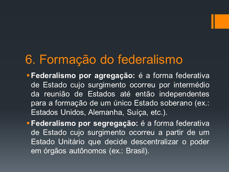 6. Formação do federalismo  Federalismo por agregação: é a forma federativa de Estado cujo surgimento ocorreu por intermédio da reunião de Estados at