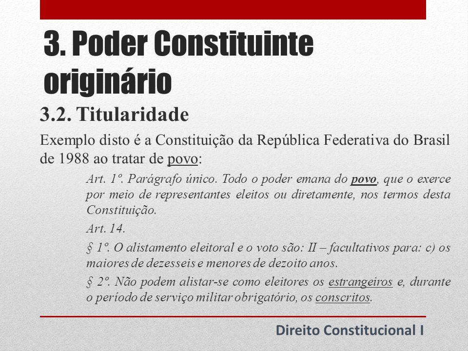 3.Poder Constituinte originário Direito Constitucional I 3.3.