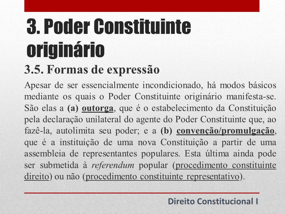 3.Poder Constituinte originário Direito Constitucional I 3.5.