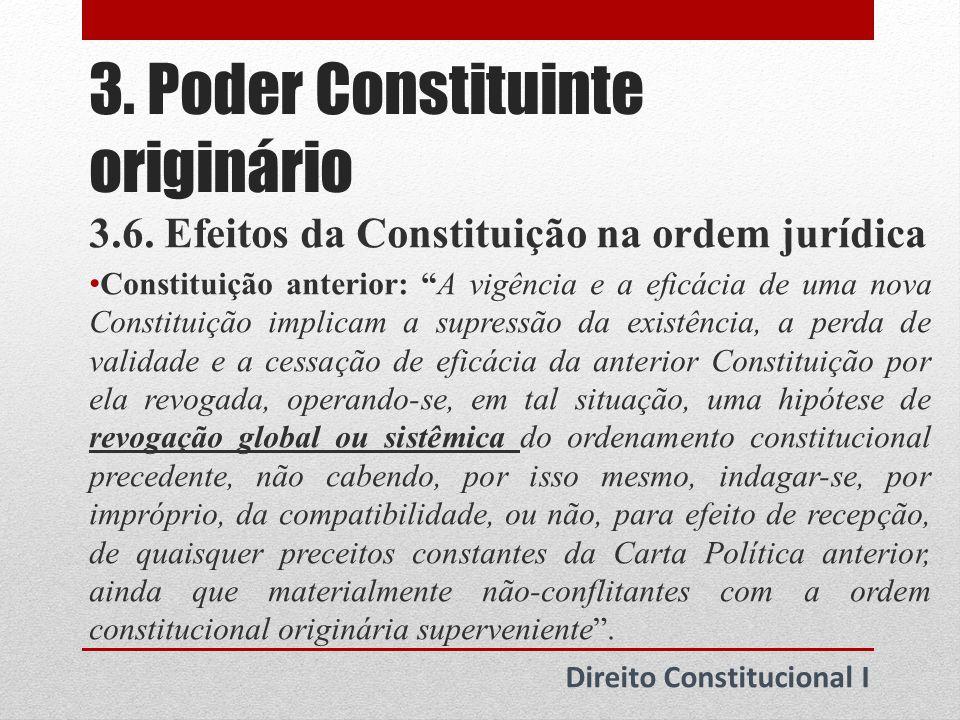 3.Poder Constituinte originário Direito Constitucional I 3.6.