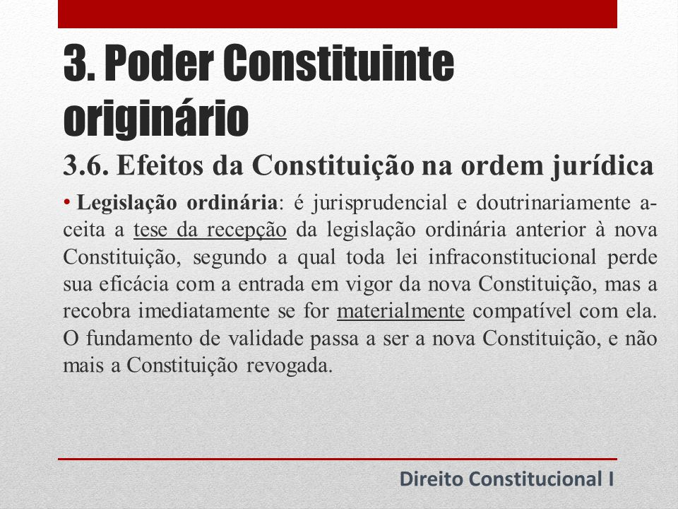 4.Poder Constituinte derivado Direito Constitucional I 4.1.