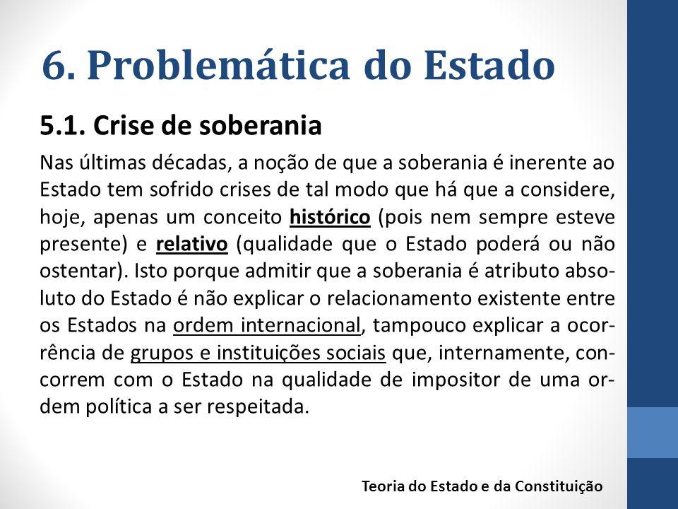 6. Problemática do Estado 5.1. Crise de soberania Nas últimas décadas, a noção de que a soberania é inerente ao Estado tem sofrido crises de tal modo
