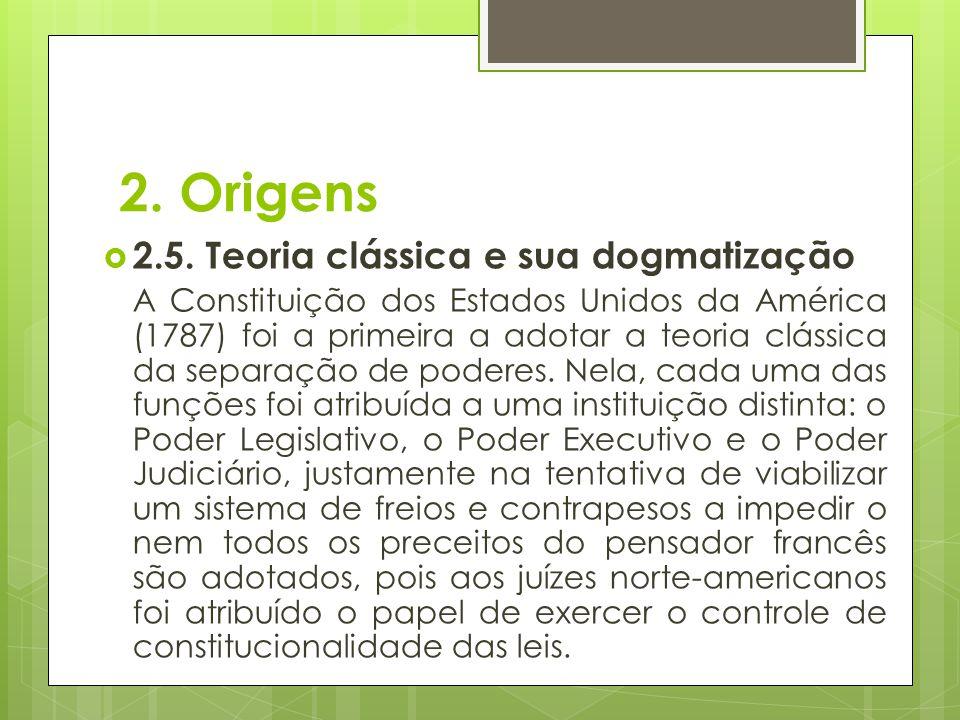 2. Origens  2.5. Teoria clássica e sua dogmatização A Constituição dos Estados Unidos da América (1787) foi a primeira a adotar a teoria clássica da