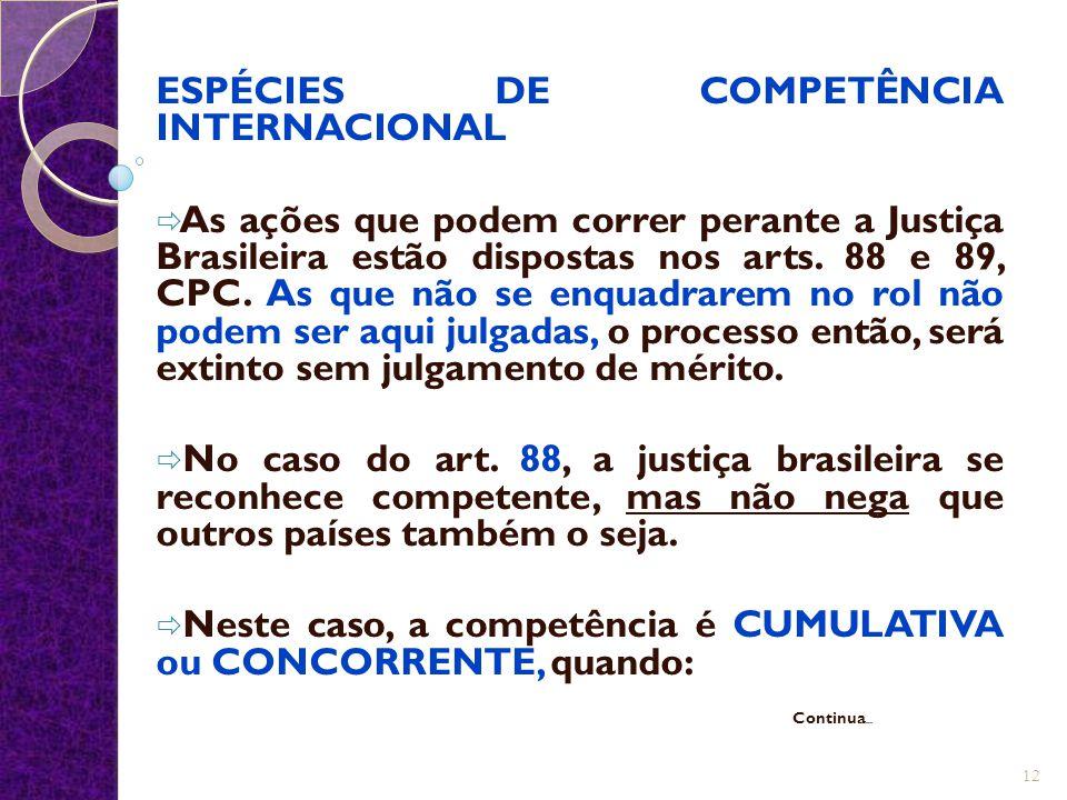 ESPÉCIES DE COMPETÊNCIA INTERNACIONAL  As ações que podem correr perante a Justiça Brasileira estão dispostas nos arts. 88 e 89, CPC. As que não se e