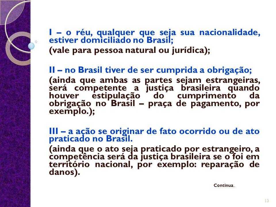 I – o réu, qualquer que seja sua nacionalidade, estiver domiciliado no Brasil; (vale para pessoa natural ou jurídica); II – no Brasil tiver de ser cum