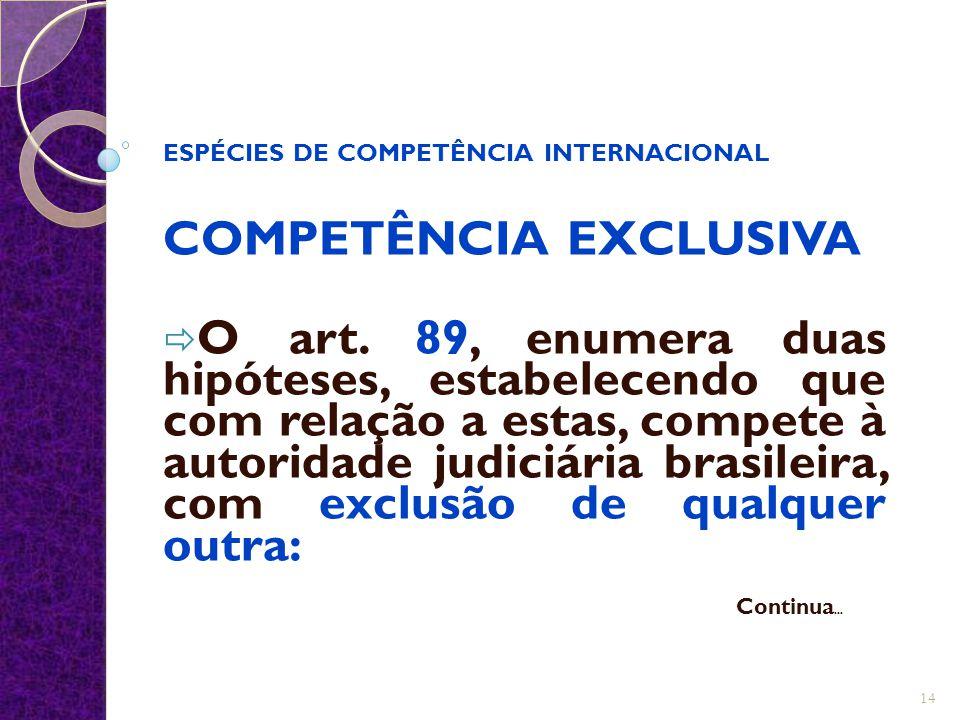 ESPÉCIES DE COMPETÊNCIA INTERNACIONAL COMPETÊNCIA EXCLUSIVA  O art. 89, enumera duas hipóteses, estabelecendo que com relação a estas, compete à auto