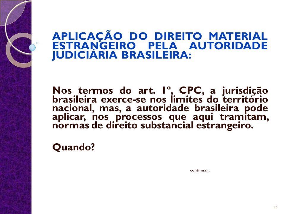 APLICAÇÃO DO DIREITO MATERIAL ESTRANGEIRO PELA AUTORIDADE JUDICIÁRIA BRASILEIRA: Nos termos do art. 1º, CPC, a jurisdição brasileira exerce-se nos lim
