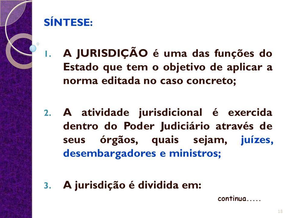 SÍNTESE: 1. A JURISDIÇÃO é uma das funções do Estado que tem o objetivo de aplicar a norma editada no caso concreto; 2. A atividade jurisdicional é ex
