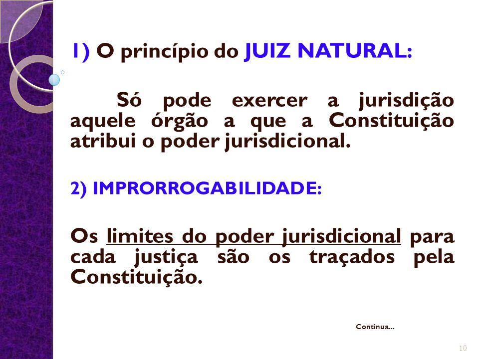 1) O princípio do JUIZ NATURAL: Só pode exercer a jurisdição aquele órgão a que a Constituição atribui o poder jurisdicional. 2) IMPRORROGABILIDADE: O