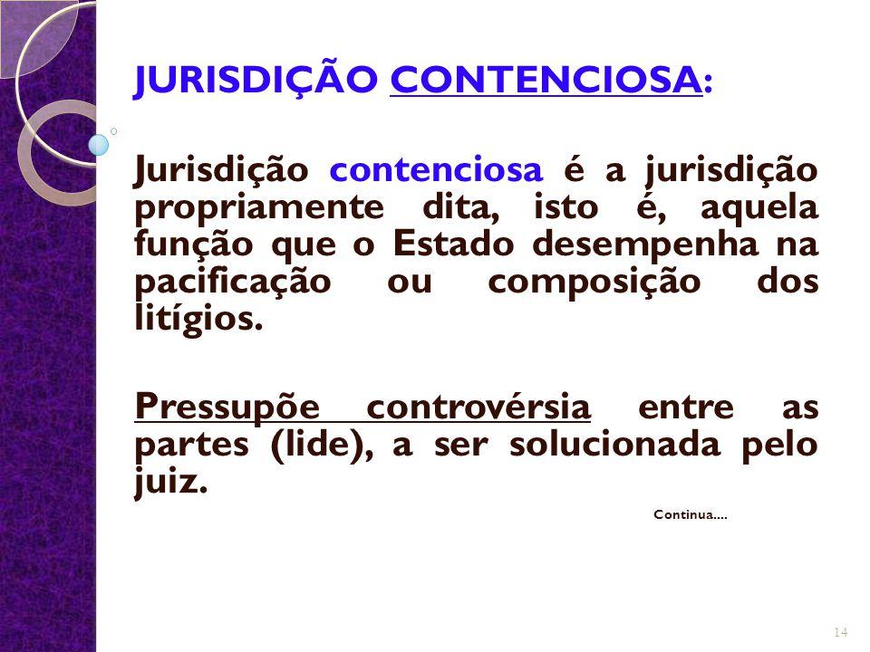 JURISDIÇÃO CONTENCIOSA: Jurisdição contenciosa é a jurisdição propriamente dita, isto é, aquela função que o Estado desempenha na pacificação ou compo