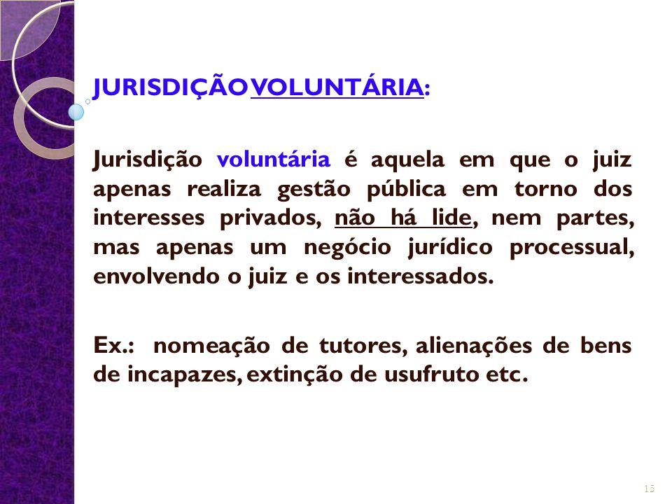 JURISDIÇÃO VOLUNTÁRIA: Jurisdição voluntária é aquela em que o juiz apenas realiza gestão pública em torno dos interesses privados, não há lide, nem p