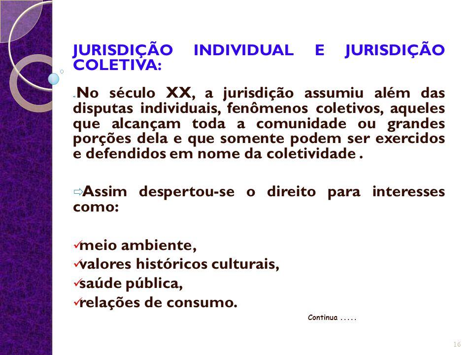 JURISDIÇÃO INDIVIDUAL E JURISDIÇÃO COLETIVA:  No século XX, a jurisdição assumiu além das disputas individuais, fenômenos coletivos, aqueles que alca