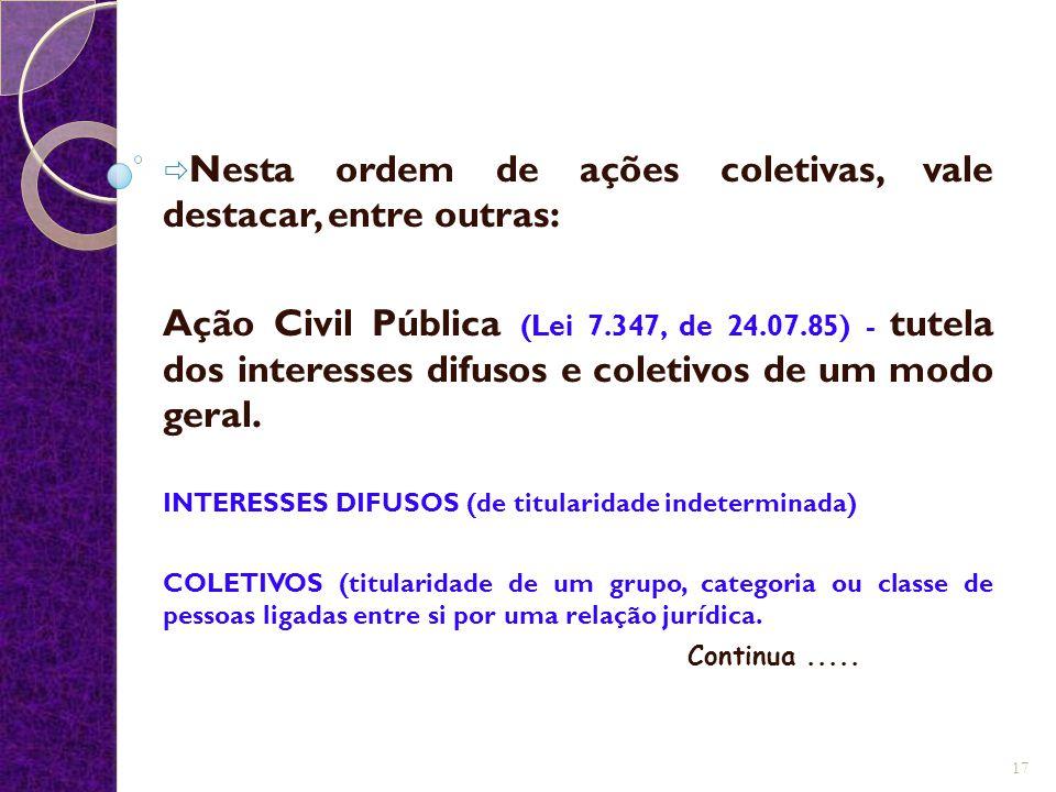  Nesta ordem de ações coletivas, vale destacar, entre outras: Ação Civil Pública (Lei 7.347, de 24.07.85) - tutela dos interesses difusos e coletivos