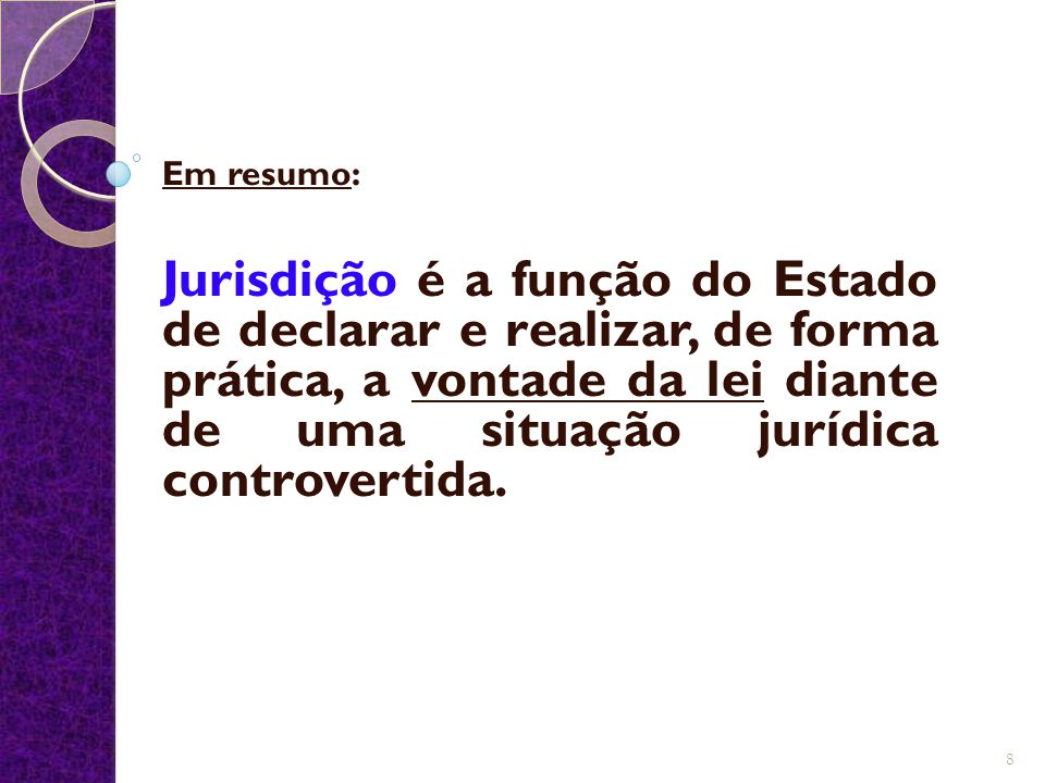 Em resumo: Jurisdição é a função do Estado de declarar e realizar, de forma prática, a vontade da lei diante de uma situação jurídica controvertida. 8