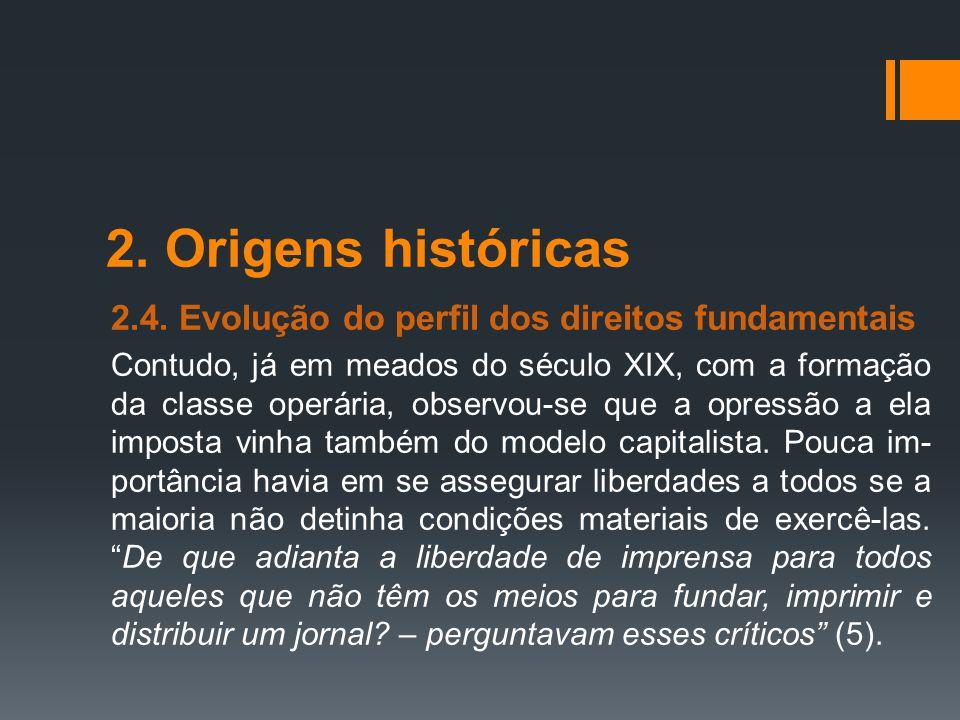 2. Origens históricas 2.4. Evolução do perfil dos direitos fundamentais Contudo, já em meados do século XIX, com a formação da classe operária, observ