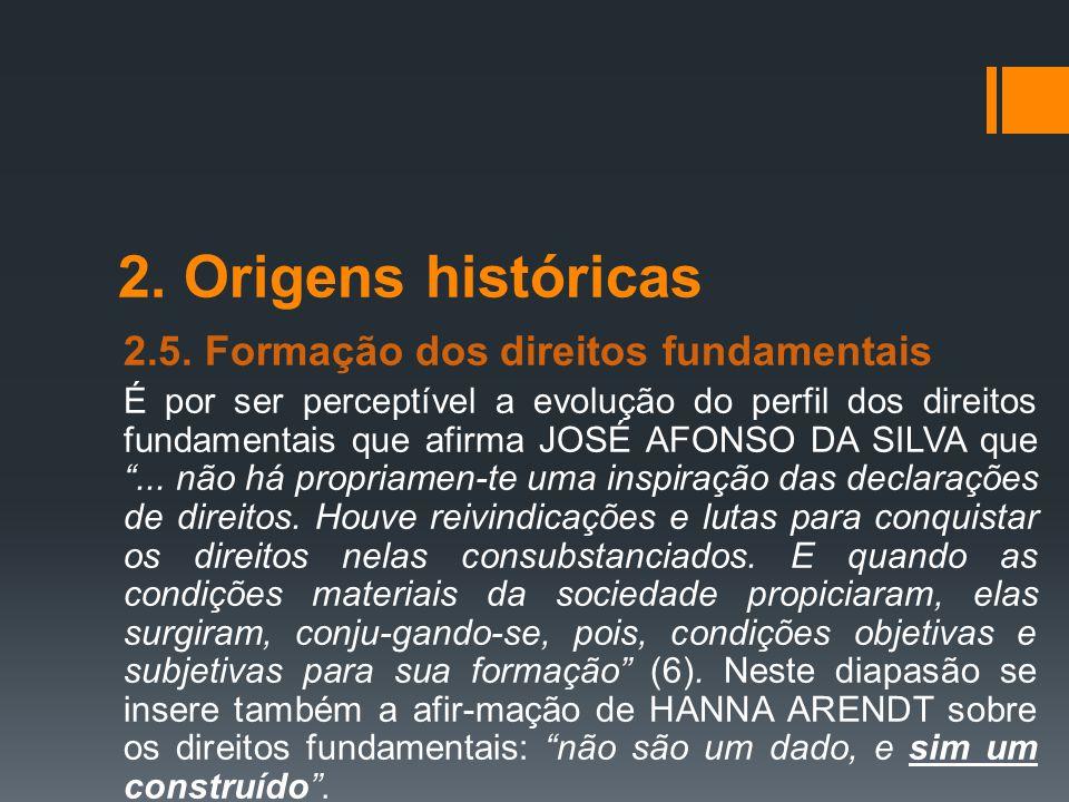2. Origens históricas 2.5. Formação dos direitos fundamentais É por ser perceptível a evolução do perfil dos direitos fundamentais que afirma JOSÉ AFO