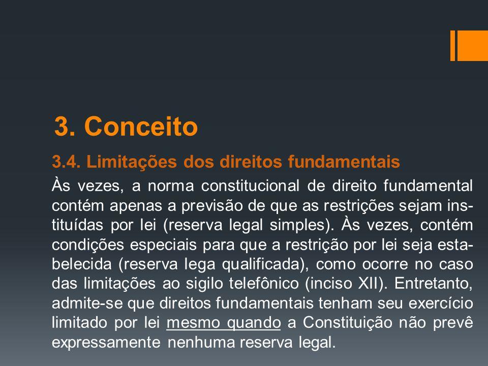 3. Conceito 3.4. Limitações dos direitos fundamentais Às vezes, a norma constitucional de direito fundamental contém apenas a previsão de que as restr