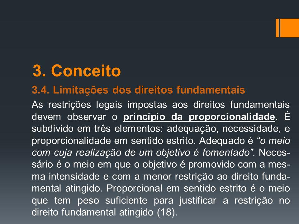 3. Conceito 3.4. Limitações dos direitos fundamentais As restrições legais impostas aos direitos fundamentais devem observar o princípio da proporcion