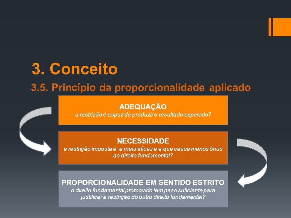 3. Conceito 3.5. Princípio da proporcionalidade aplicado ADEQUAÇÃO a restrição é capaz de produzir o resultado esperado? NECESSIDADE a restrição impos