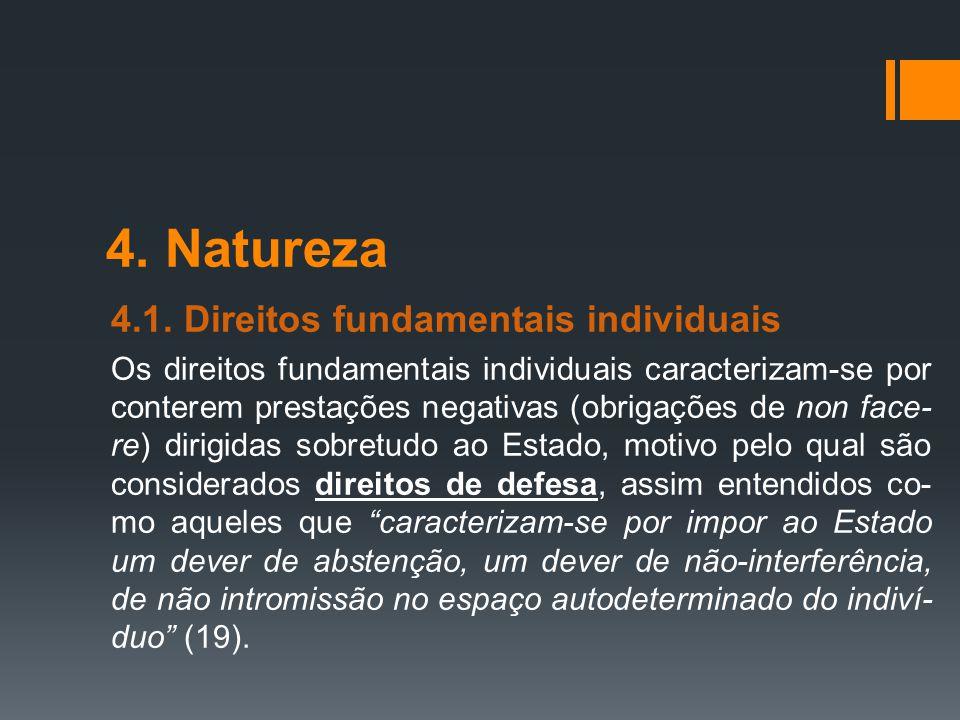 4. Natureza 4.1. Direitos fundamentais individuais Os direitos fundamentais individuais caracterizam-se por conterem prestações negativas (obrigações