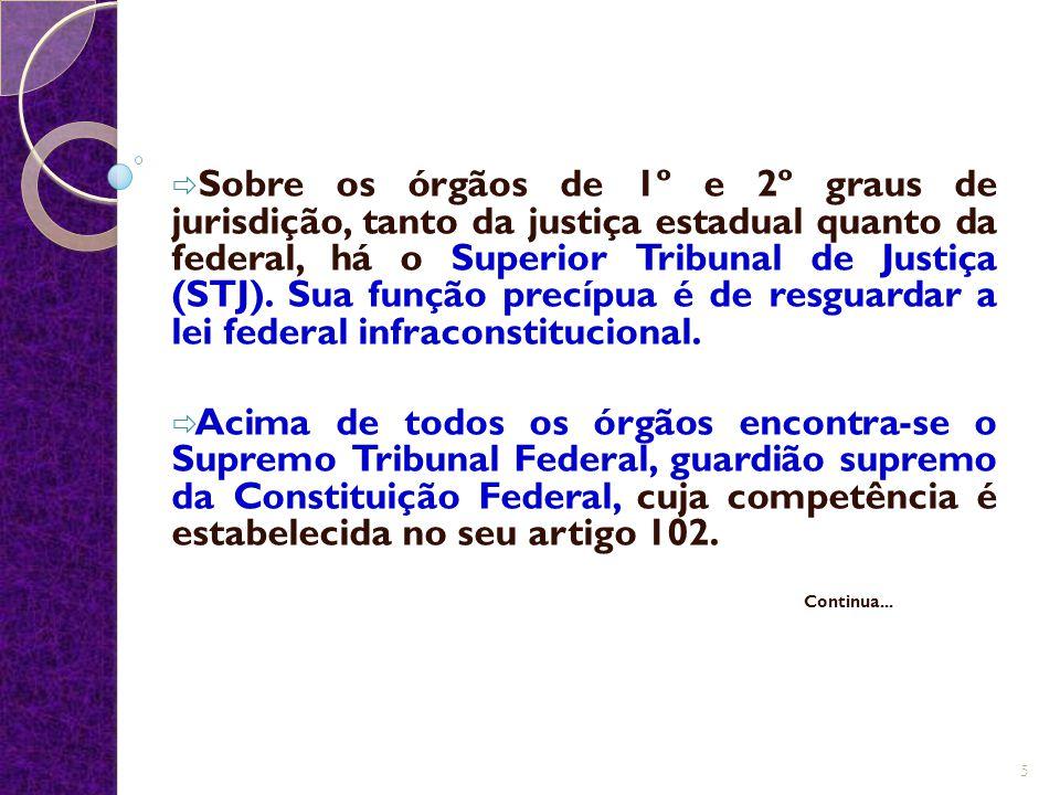  Sobre os órgãos de 1º e 2º graus de jurisdição, tanto da justiça estadual quanto da federal, há o Superior Tribunal de Justiça (STJ). Sua função pre