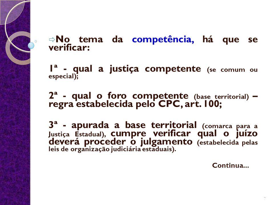  No tema da competência, há que se verificar: 1ª - qual a justiça competente (se comum ou especial); 2ª - qual o foro competente (base territorial) –