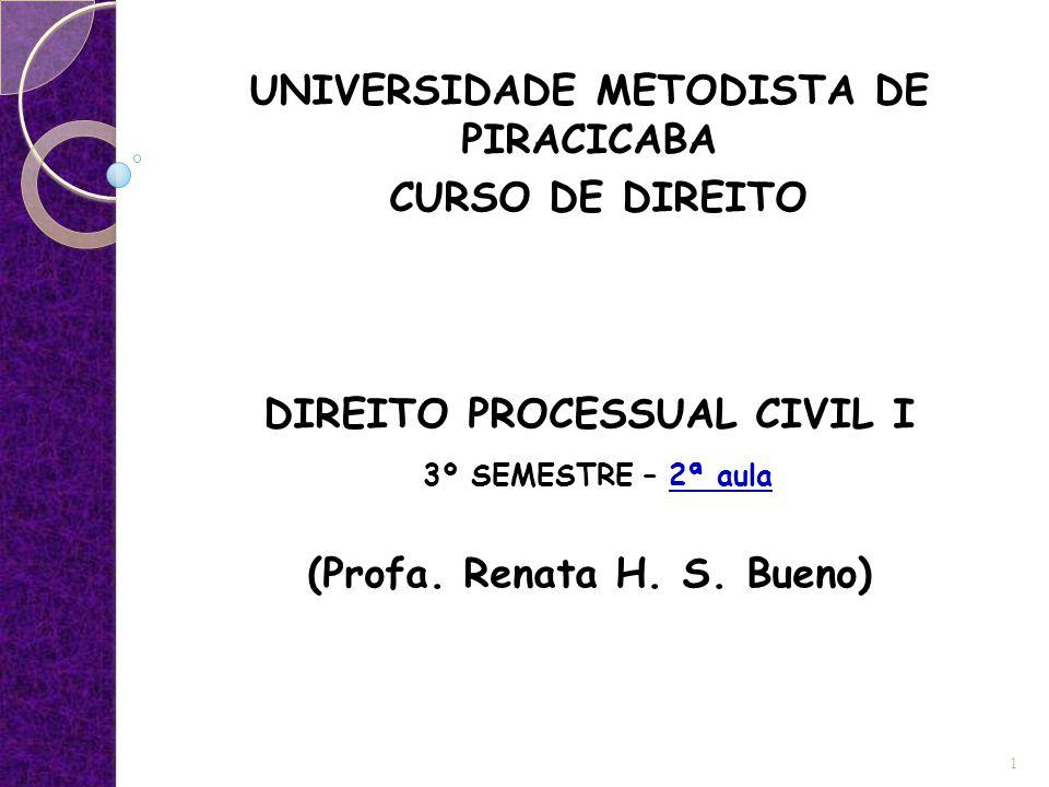 UNIVERSIDADE METODISTA DE PIRACICABA CURSO DE DIREITO DIREITO PROCESSUAL CIVIL I 3º SEMESTRE – 2ª aula (Profa. Renata H. S. Bueno) 1