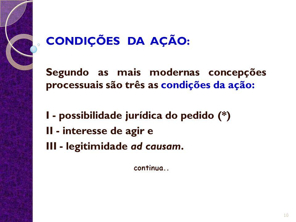 CONDIÇÕES DA AÇÃO: Segundo as mais modernas concepções processuais são três as condições da ação: I - possibilidade jurídica do pedido (*) II - intere