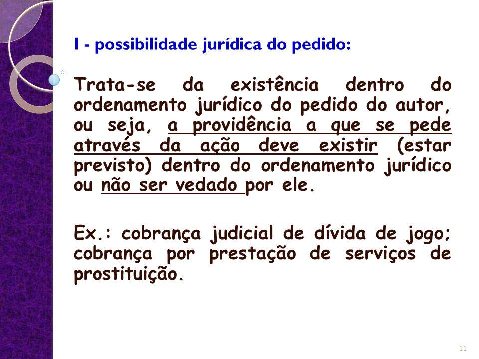I - possibilidade jurídica do pedido: Trata-se da existência dentro do ordenamento jurídico do pedido do autor, ou seja, a providência a que se pede a