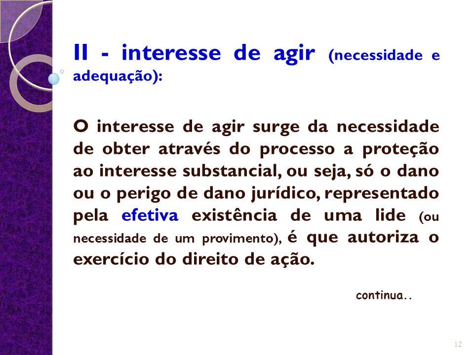 II - interesse de agir (necessidade e adequação): O interesse de agir surge da necessidade de obter através do processo a proteção ao interesse substa