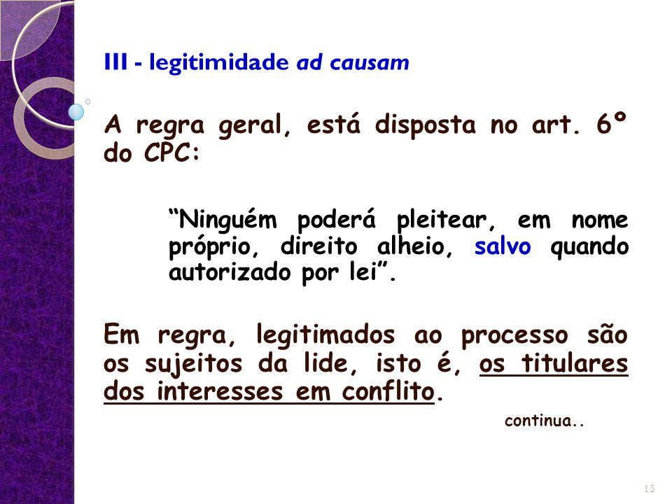 III - legitimidade ad causam A regra geral, está disposta no art.