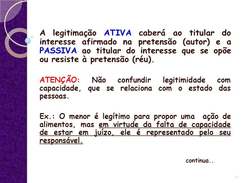 A legitimação ATIVA caberá ao titular do interesse afirmado na pretensão (autor) e a PASSIVA ao titular do interesse que se opõe ou resiste à pretensã