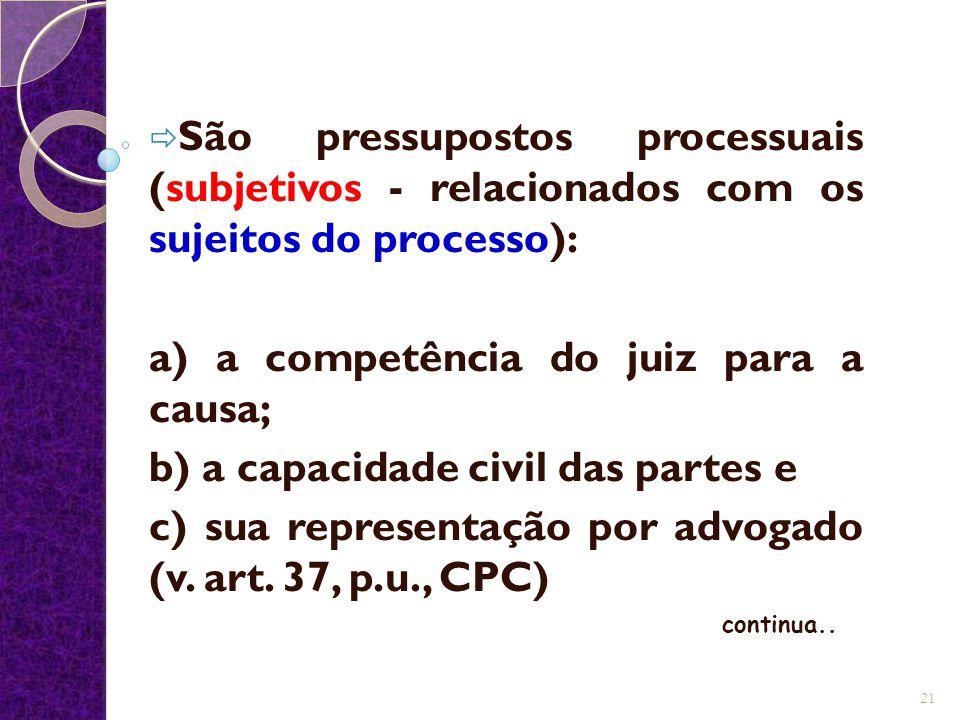  São pressupostos processuais (subjetivos - relacionados com os sujeitos do processo): a) a competência do juiz para a causa; b) a capacidade civil das partes e c) sua representação por advogado (v.